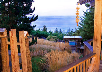 Photo from Guest Hall deck of sea grasses, spa and ocean
